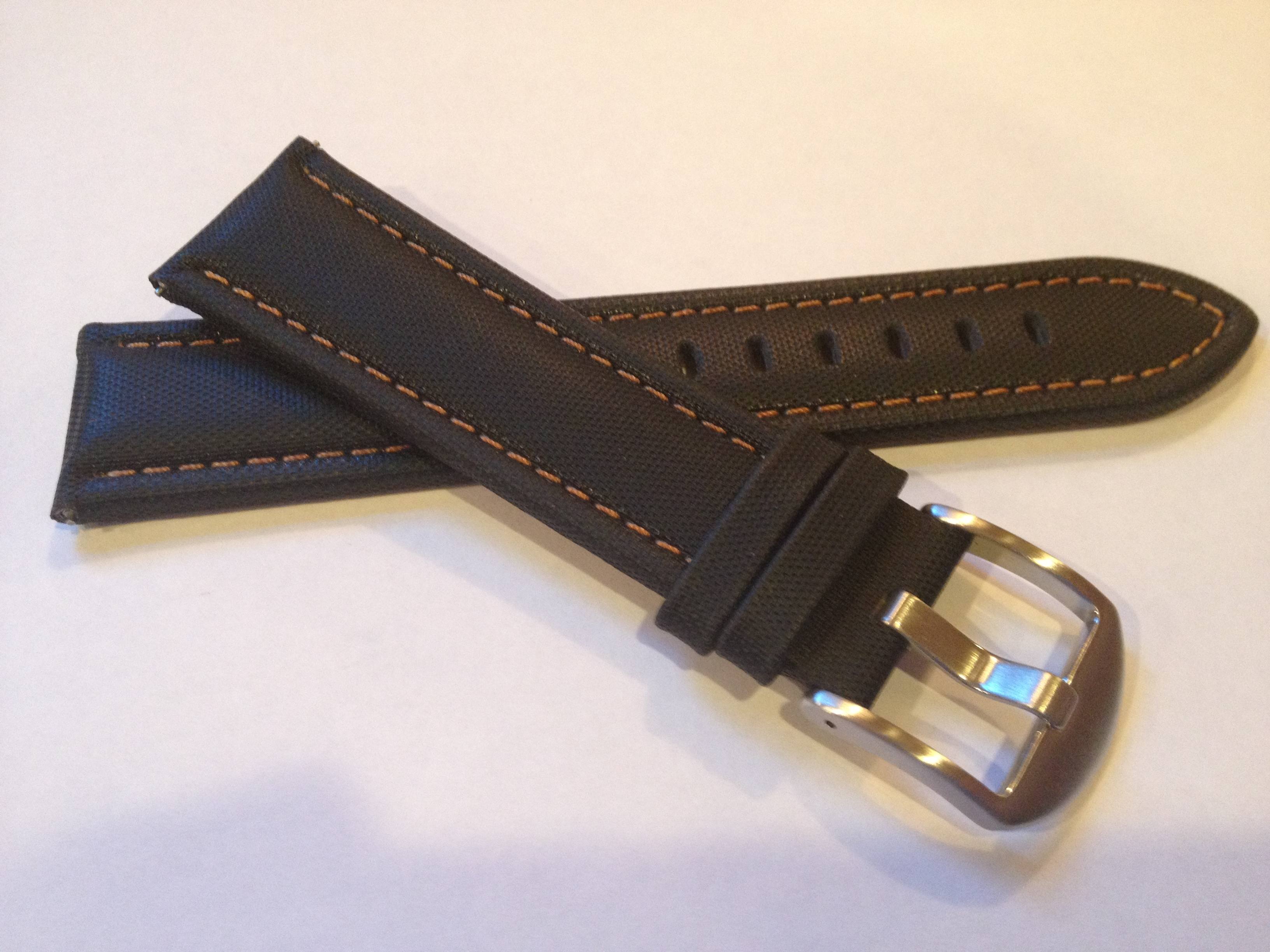 Black Sailcloth Strap with Bronze Stitching