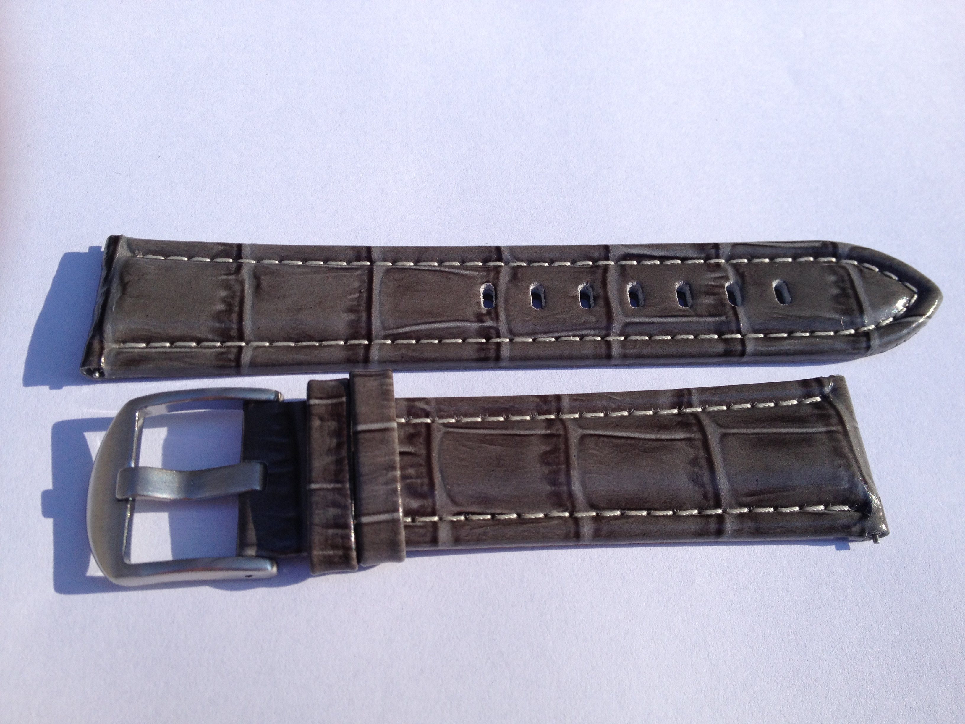 Croc Elite Black Steel Strap with White Stitch