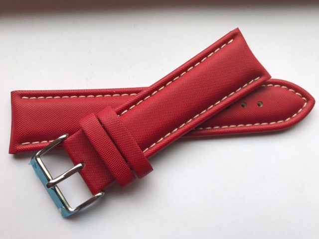 Red Sailcloth Strap with White Stitching