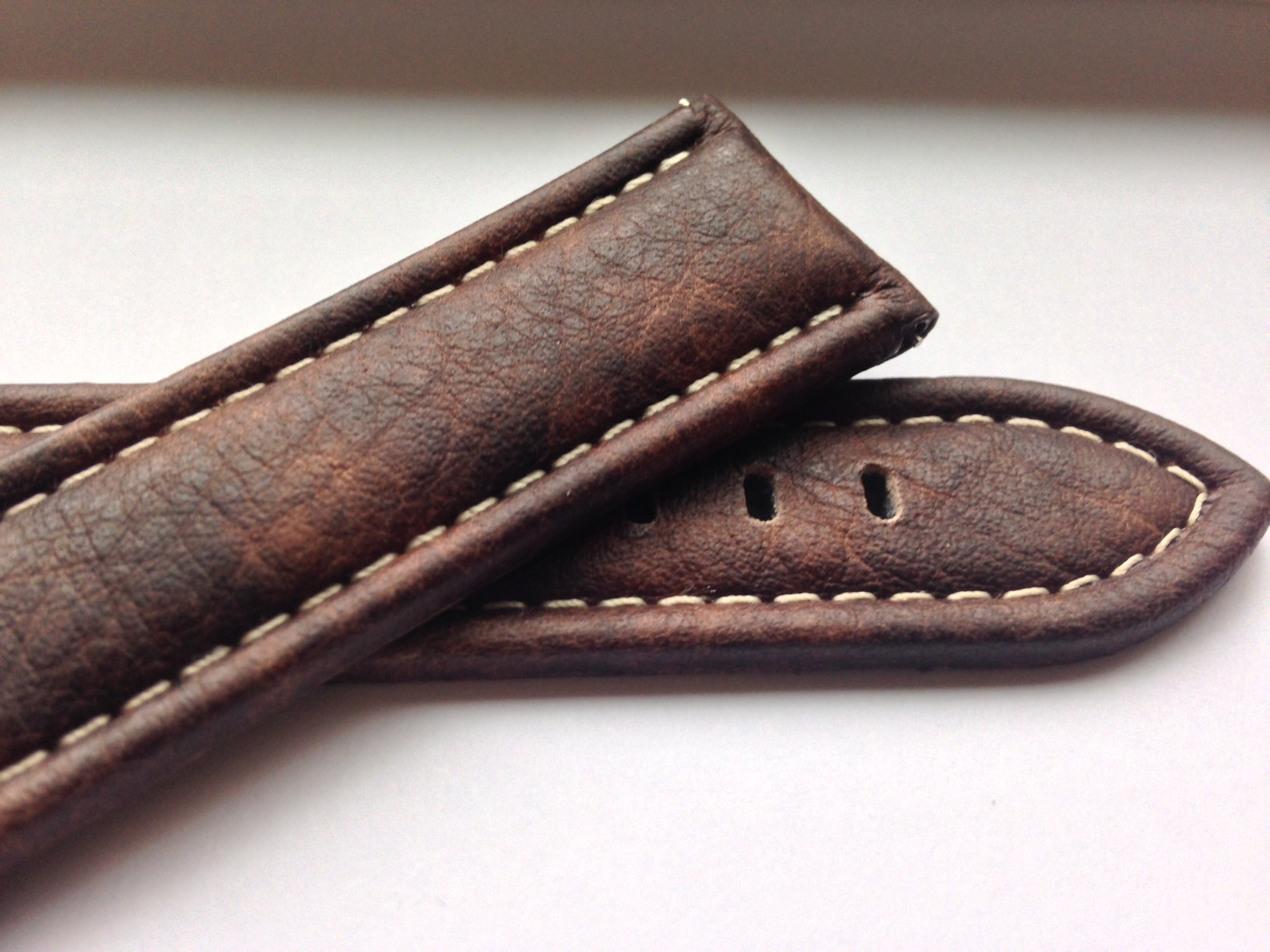 Brown Distressed Leather Strap with White Stitching
