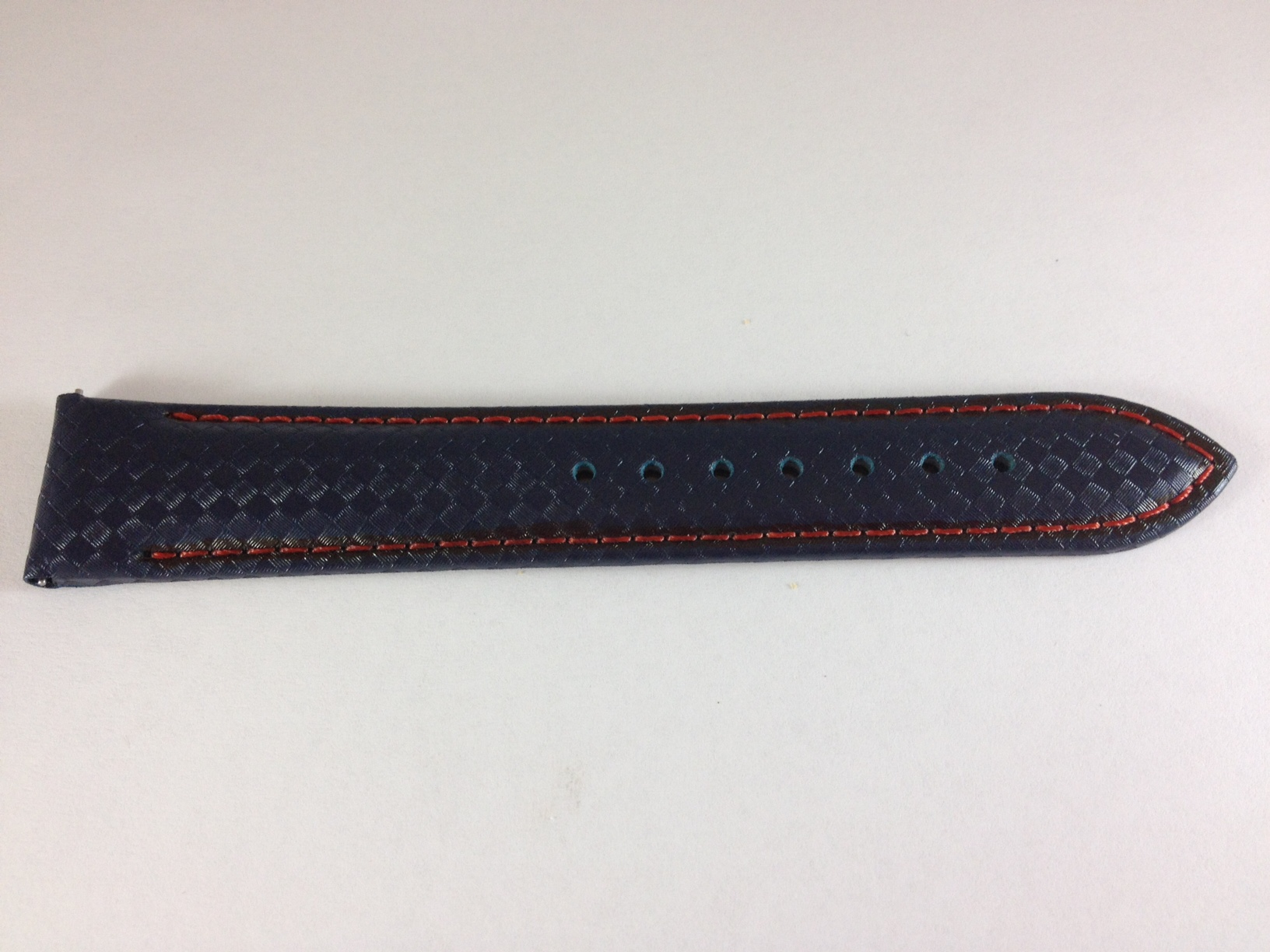 Black Carbon Fiber Strap with Orange Stitching